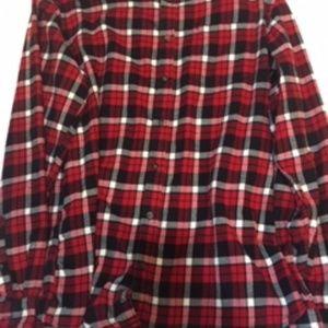 Eddie Bauer Red/White/Black Flannel Shirt XLT